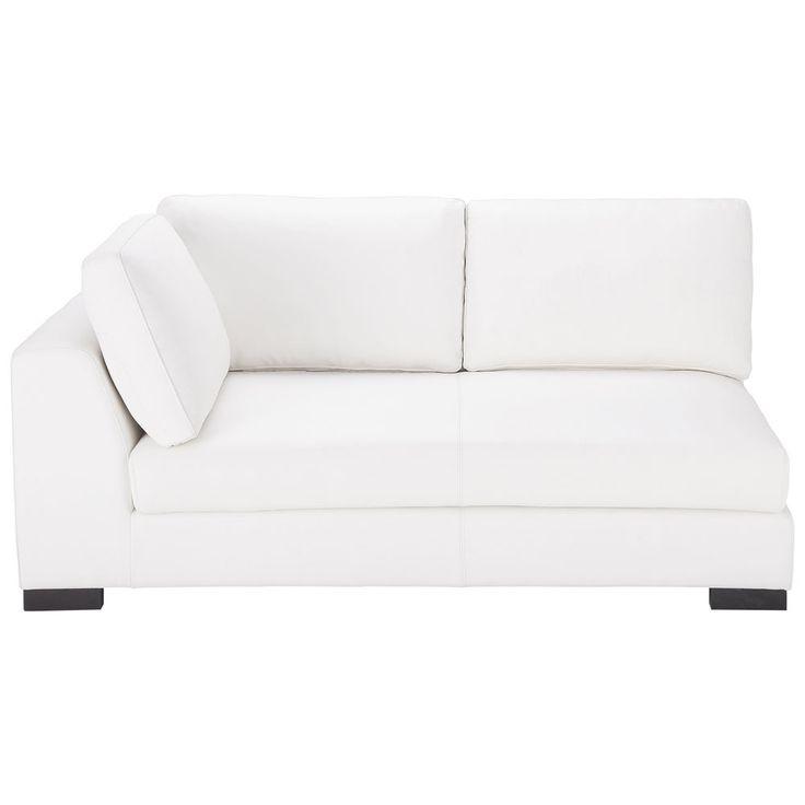 Modulares Ausziehbares Ledersofa Mit Armlehne Links, Weiß