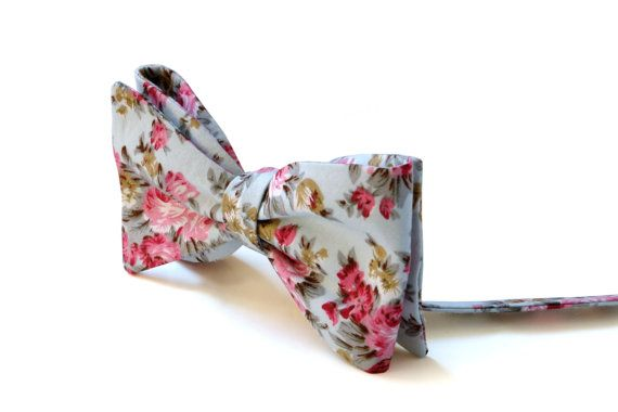Bow Tie Light Green Gray Floral  SELF TIE /  by TheBestBoysTies