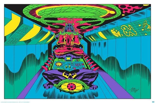 """Jack Kirby's """"Argo"""" Drawings limited edition blacklight prints.  """"The Ben Affleck directed Argo (2012) featured concept art for a sci-fi movie of the same title drawn by lead Marvel artist Jack Kirby. The drawings were part of an elaborate CIA backed plan that involved a fake movie shoot to free American hostages hiding in the Canadian Embassy in Iran. http://moviepilot.com/"""