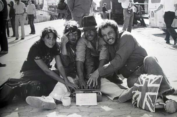 Karen Allen, Steven Spielberg, Harrison Ford and John Rhys-Davies behind the scenes of Raiders of the Lost Ark. (via Karen Allen, Steven Spi...