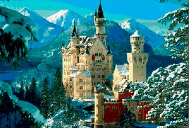 Замок в горах, башни, снежные вершины