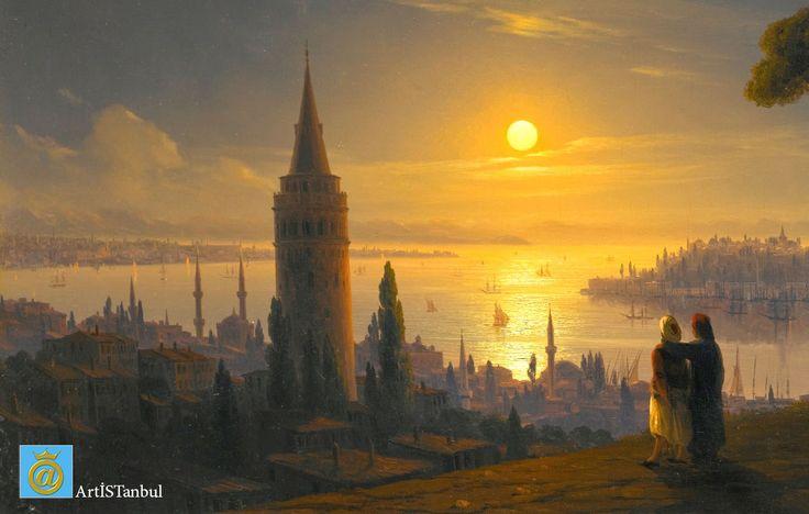 """ArtİSTanbul - Ivan AYVAZOVSKİ Denizlerin ustası Ayvazovski, içinden deniz geçen İstanbul'a vurulur. """"Dünyada bu kadar 'Majestik' bir yer olamaz"""" der. En güzel resimlerini burada yapar."""