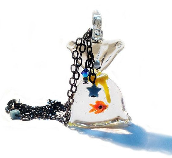 Goldfish In A Bag Necklace Fairground Funfair by XKawaiiCutieX, £11.00