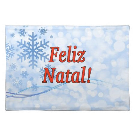 Feliz Natal! Merry Christmas in Portuguese rf Cloth Placemat
