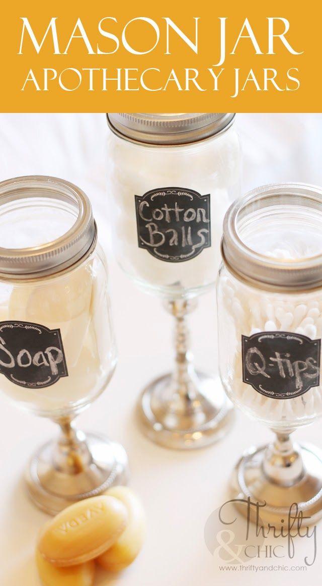Mason jar apothecary jars masonjarcrafts for Mason jar bathroom ideas