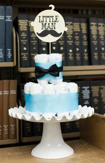 Mustache Bash Baby Shower Diaper Cake #DiaperCake