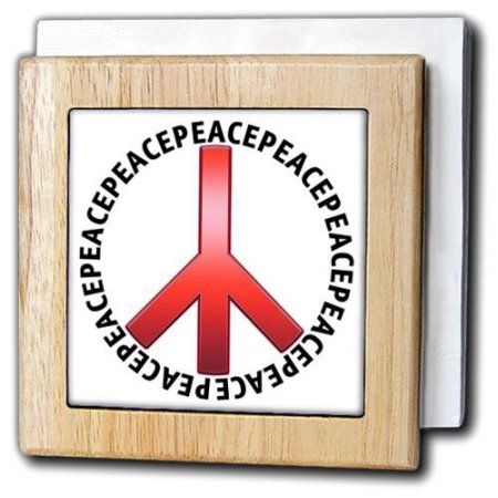 3dRose Peace Sign 3 shows a red peace sign with peace text repeating as an outer circle, Tile Napkin Holder, 6-inch