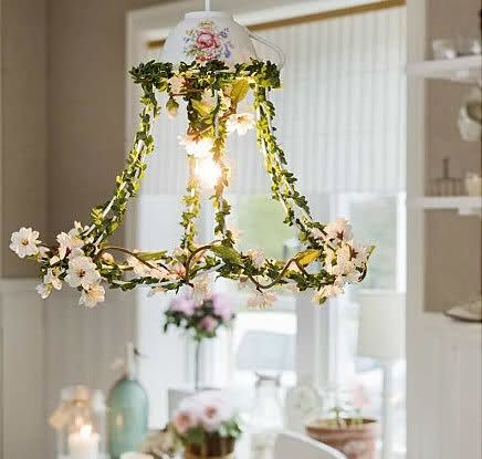 hot glue ghost lamp shade with faux greenery and paper flowers