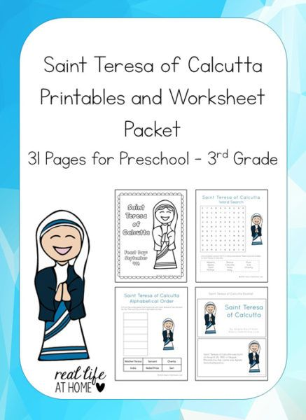 Studying about Saint Teresa of Calcutta (Mother Teresa)? Celebrating her canonization? Check out this 31-page Saint Teresa of Calcutta Printable Packet | Real Life at Home