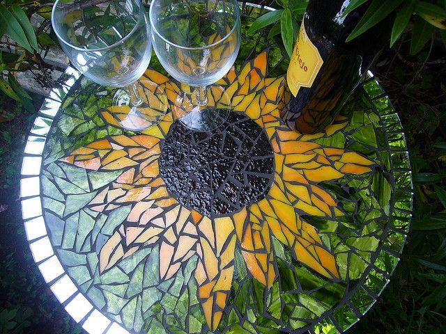 Sunflower mosaic table.