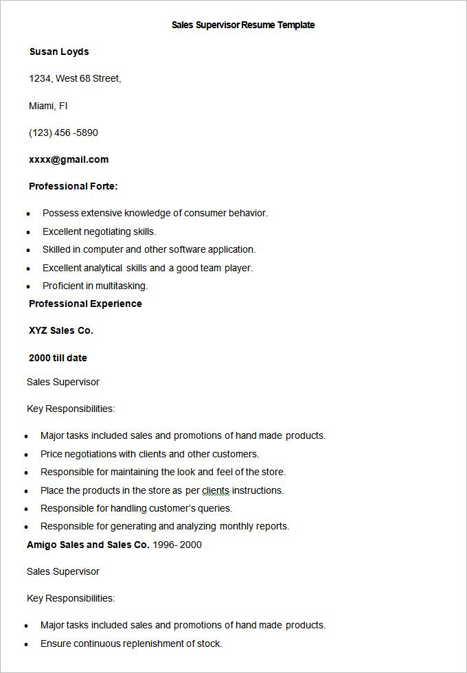 Sample Sales Supervisor Resume Template , Write Your Resume Much Easier with Sales Resume Examples , Sales resume examples are usually easy to find with various formats and writing methods. Sales resume itself covers wide ranges of sales such as insur...