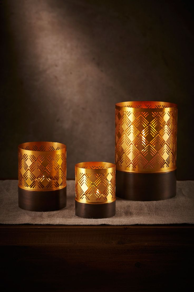 Deco Votives: Small, Med + Large. Sold individually or as a set of 3.