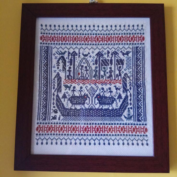 #kruissteek #design based on the famous #kainkapal #shipcloth of #traditional #handwoven #tapis from #lampung #stitched by @novitaindriahapsari on 14 count white aida  #carpiişi #crossstitch #javacrossstitch #kanaviçe #etamin #etsy #kristik #kristikindonesia #korrstygn #haft #haftkrzyżykowy