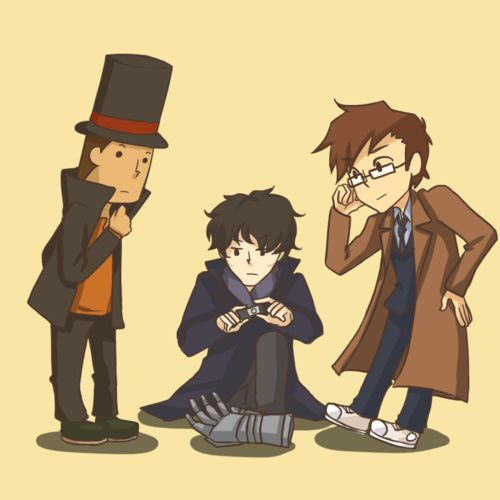 ACK! PROFESSOR LAYTON! SHERLOCK! DOCTOR WHO! AND-IS THAT-THE HAND FROM THAT EPISODE OF BUFFY THE VAMPIRE SLAYER? NO, COULDN'T BE. MY MIND HAS BEEN BLOWN.