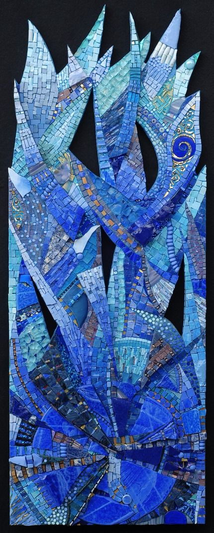 "Out of the Blue | Irina Charny Mosaics.  24"" x 40""  glass, porcelain, beads, millefiori, gold  2008  Private Residence  Hawaii"