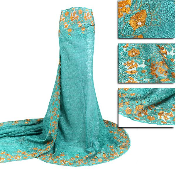 FL0180 African French Lace Fabric High Quality French lace with beads and stones…