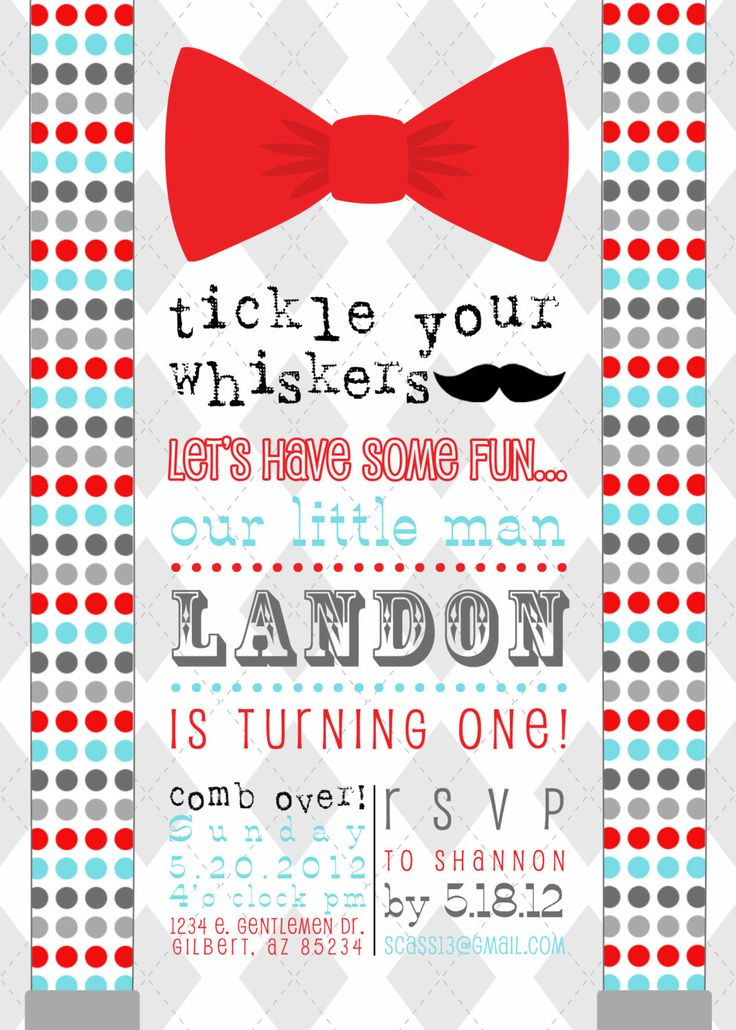 Little Man Mustache Bow Tie Printable Birthday Party Invitation - Birthday or Baby Shower- Fresh Chick Designs. $15.00, via Etsy.