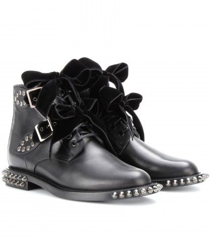 Saint Laurent - Bottines en cuir avec clous et nœuds en velours -