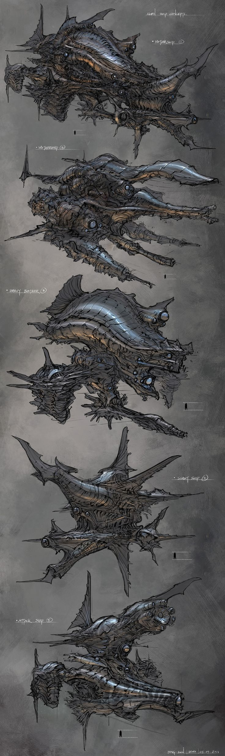 concept ships: Feng Zhu spaceship concepts