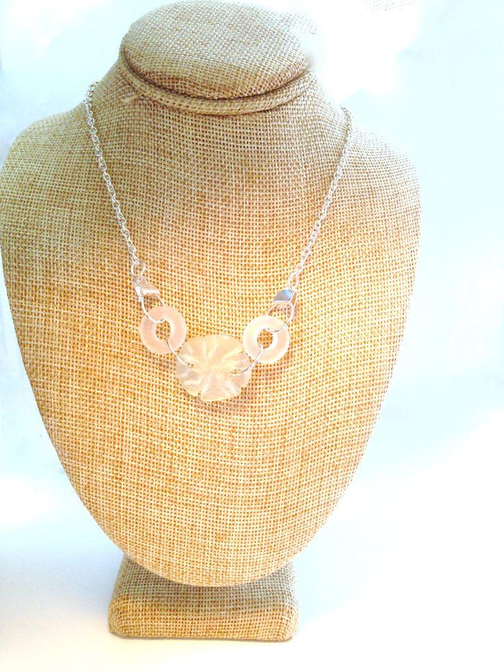 Sand Dollar Necklace Sea Glass Jewelry Ocean Jewelry Mermaid Necklace Beach Bride Bridesmaid Jewelry Wedding Jewelry Beach Glass #N7