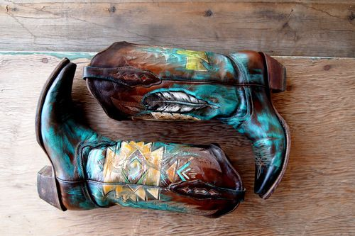 Hand painted cowboy boots, beautiful