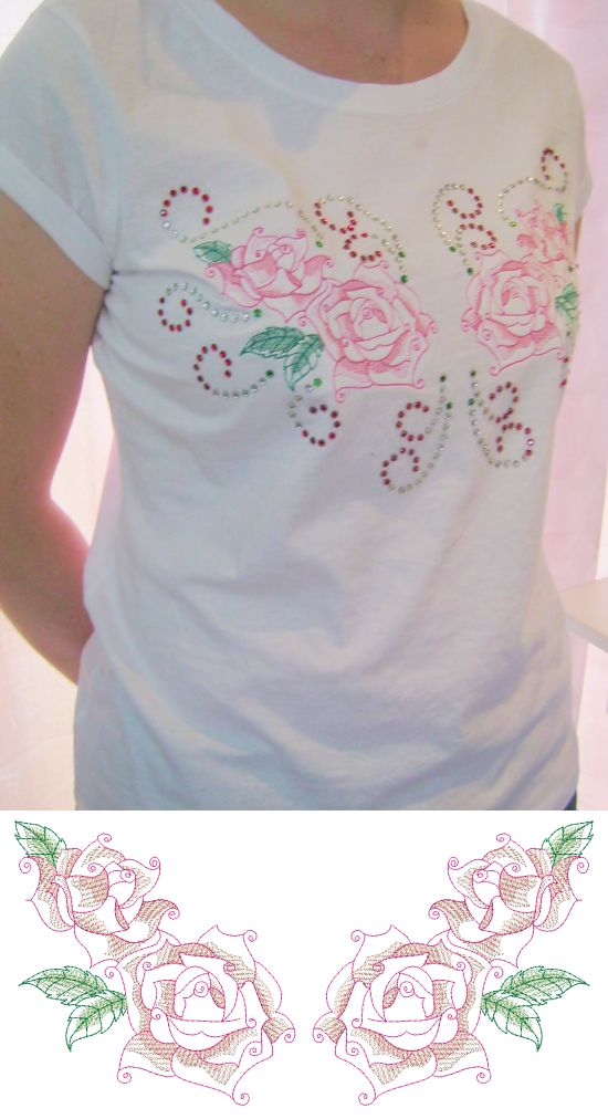 CE668 - Rhinestone Roses This is a very feminine design that is great to take a Tee from ordinaire to eye-catching! Do the gorgeous roses on your embroidery machine http://tinyurl.com/z8ppfga