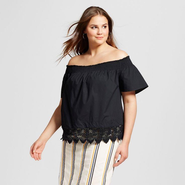 Women's Plus Size Lace Hem Bardot Top - Who What Wear Black 2X