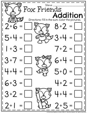 Addition Worksheets Kindergarten addition worksheets