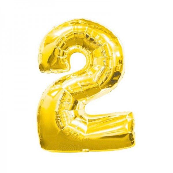 Decoración para fiestas infantiles, bodas y eventos Globo Dorado Número 2 - Globos - Decoración