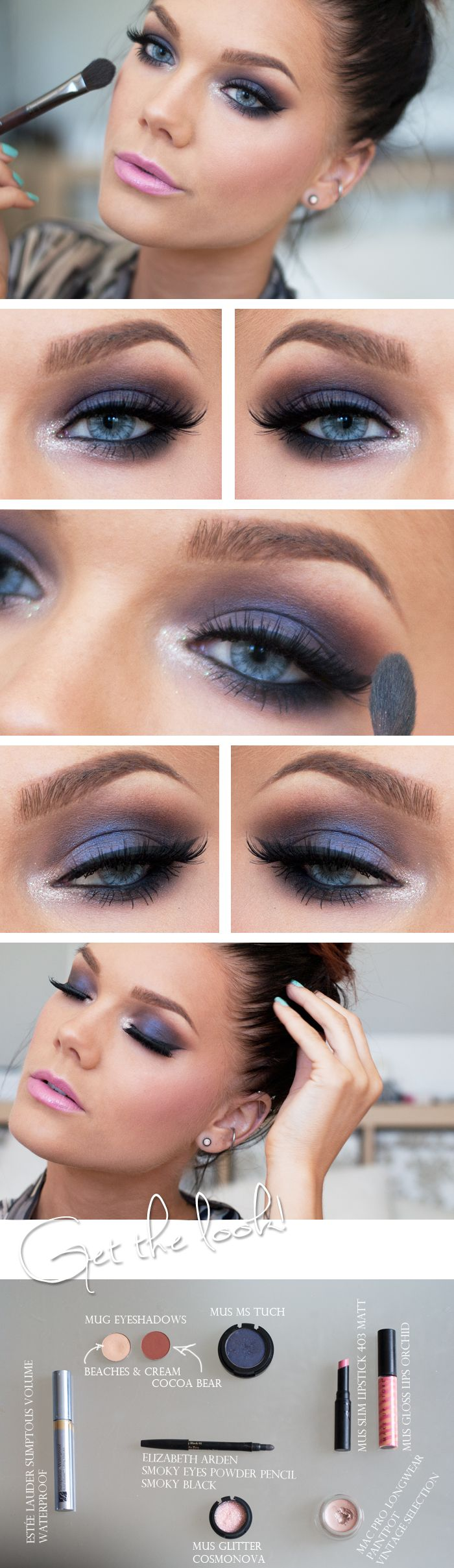 deep violet bordering on blue, smoked out to perfection with a hint of glitter in inner eye and a bright pink lip