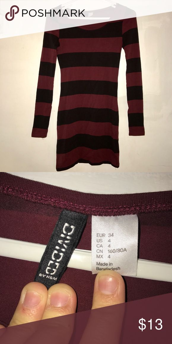 Long Sleeve Striped Dress Maroon and black striped long sleeved tight dress. From H&M size 4. Super cute for going out or dressing casual! H&M Dresses Mini