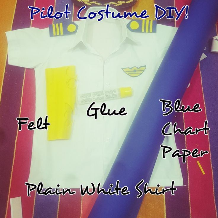 Toddler's Pilot Costume DIY with a little imagination and accessories inspiration from Pinterest! I feel like Frank Abagnale Jr.!!  #DIY #WhiteShirt #YellowFelt #BlueChartPaper #Thread #Needle #Glue #CommunityHelpers #Preschool #DressUp #ToddlerDressUp