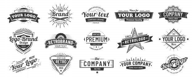 Vintage Badge Retro Brand Name Logo Badges Company Label And Hipster Frame Vector Illustration Set In 2020 Retro Logos Vintage Logo Name Logo