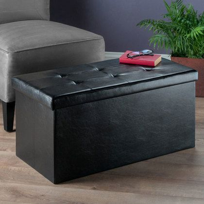 Winsome Wood Ashford Ottoman with Storage Faux Leather