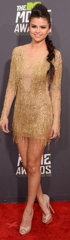 Who made Selena Gomez's gold fringe dress that she wore to the 2013 MTV movie awards?