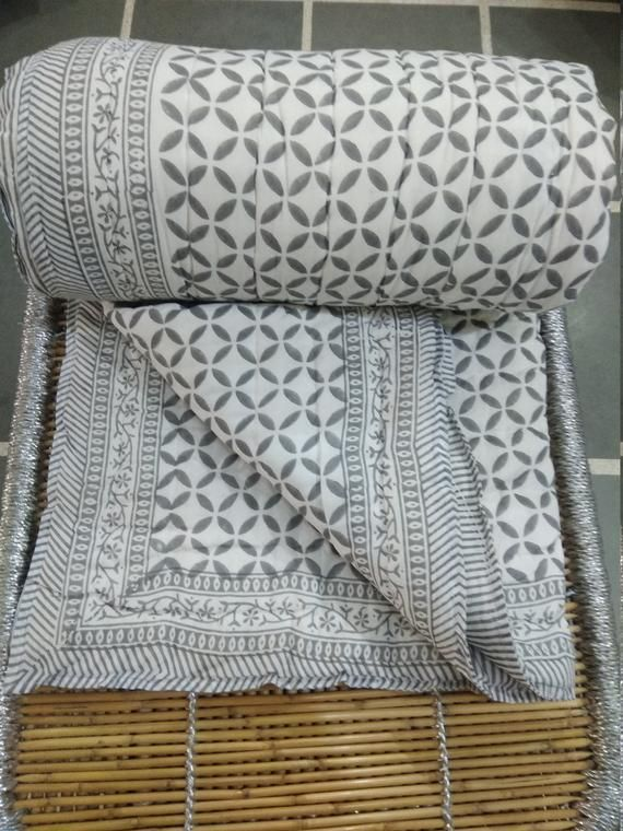 Jaipuri Hand Block Print Quilt Handmade Cotton Bedding Quilt Indian Handmade Cotton Rajai Soft Cotton Quilt Bedspread Quilt Home Decor