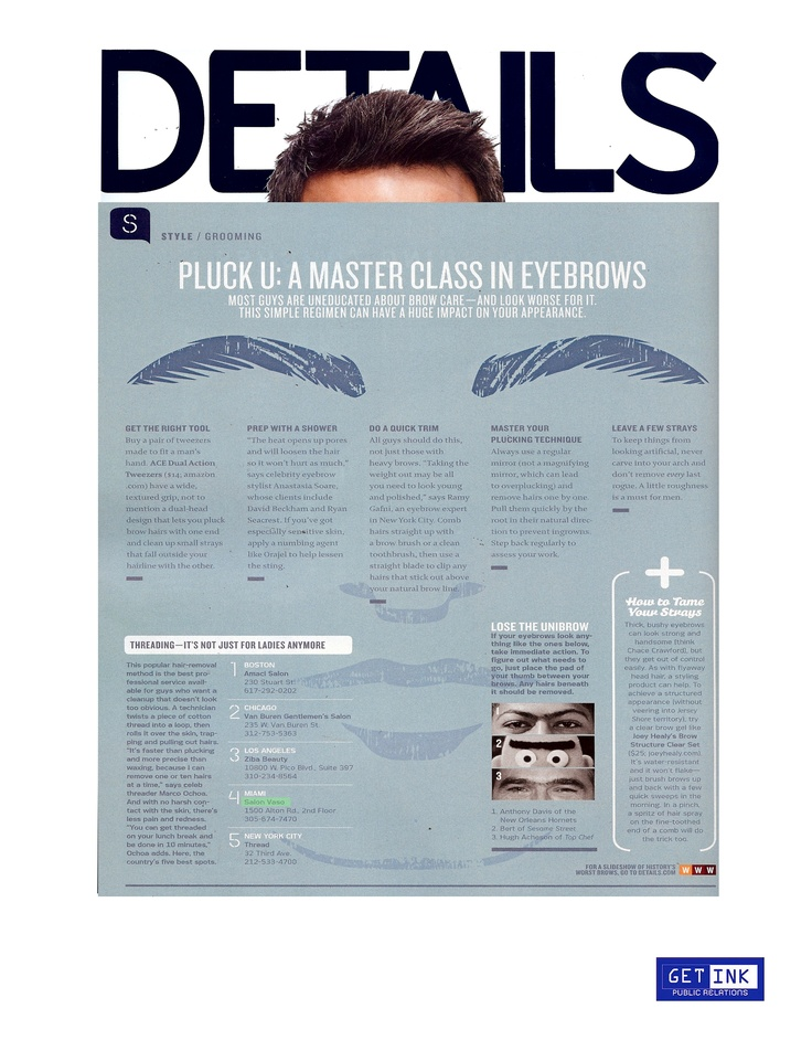 We are so honored and thrilled to be featured in the October issue of Details Magazine for our eye brow threading services.