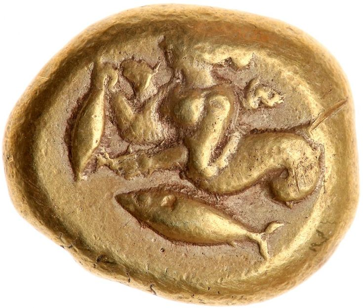 Mysia, Kyzikos. Electrum Stater (15.94 g), 5th-4th centuries BC Choice VF Skylla left, holding tunny; below, tunny left. Quadripartite incuse square. Von Fritze 175; SNG BN -. Very rare. Boldly struck in high relief on a full oval planchet. The top of the Nymph's head is off the flan. Estimated Value $8,000 - 10,000. #Coins #Gold #Ancient #MADonC