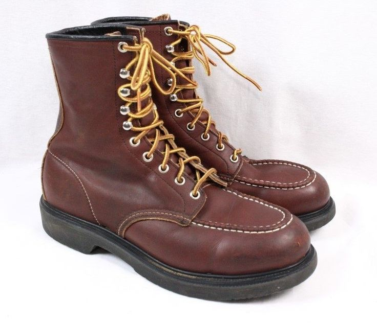 Red wing 4440 brown leather lace up steel toe pt83 vintage
