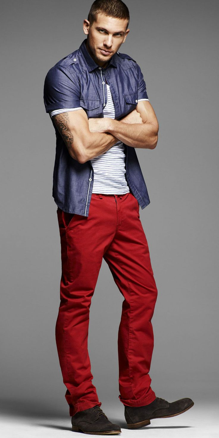 Top ideas for red pants - Adam Senn Steps Out For Express Summer 2012