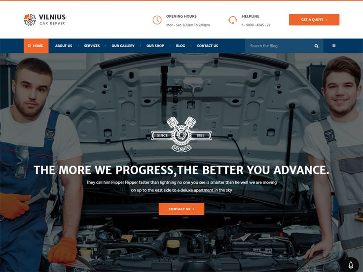 Vilnius is a vivid amd great Car Repair Free HTML Template for Auto Mechanic, Car Repair Shops, Car Wash, Garages, Automobile Mechanicals, Mechanic Workshops, Auto Painting, Auto Centres and other Auto and Car related services and it is suitable for any kind of small business activity – Car Service Mot, Tyres, Brakes Hire, Car Rental, Auto Care, Maintenance, Vehicle Diagnostics, Auto Glass, Body Shops, Auto Inspections, Handyman, Serviceman .It is suitable for users with zero programming…