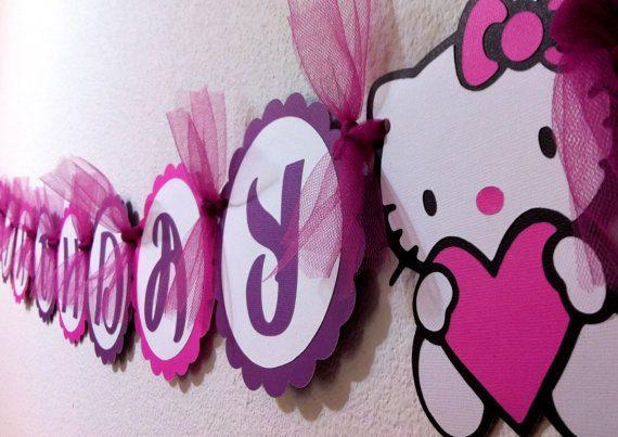Pink and Purple Hello Kitty birthday banner!