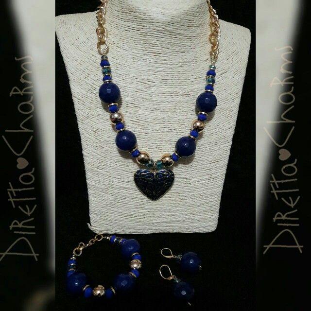 Set en piedra natural Ágata con balines en goldfield, corazón en zamak.  Diretta ♡ Charms Accesorios que resaltan tus encantos. Info wtp +57 3127080891.  #DirettaCharmsAccesorios #DirettaAccesorios #DiseñosDiretta #Diretta #diseño #accessory #accessories #jewelryhandmade #jewelry #made #madewithlove #blue #darkblue #set #personalizado #personal #unico #only #cute #beauty #beautiful #bello #cool #women #ClientasFelicesDiretta