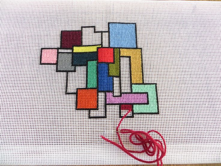 Design of irregular rectangles, not planned - I shall see how it ends up!  10hpi canvas with Ehrman wools.