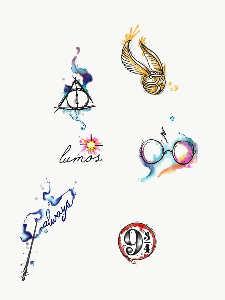 Aquarell Harry Potter Tattoos von Lady Pirates Tattoo Studio in Leigh-on-Sea, …
