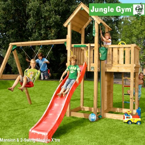 Jungle Gym Mansion & Swing Module - Wooden Climbing Frames for Children : Wooden Climbing Frames for children