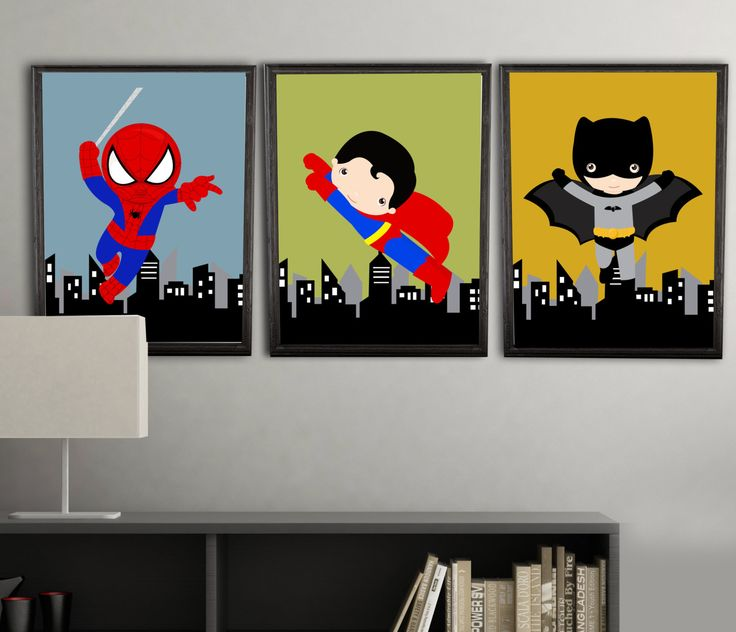 super hero wall decor wall art prints color by AmysSimpleDesigns