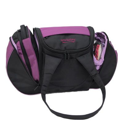 The Goddess III - Womens Gym and Travel Bag - Berry / Black - look how much you can get into it! http://www.workplay-bags.com/Online-Shop/c1/p42/The-Goddess-III---Womens-Gym-and-Travel-Bag---Berry-/-Black/product_info.html
