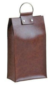 Borsa in pelle con divisori interni per 2 Bottiglie di vino da 750 ml.