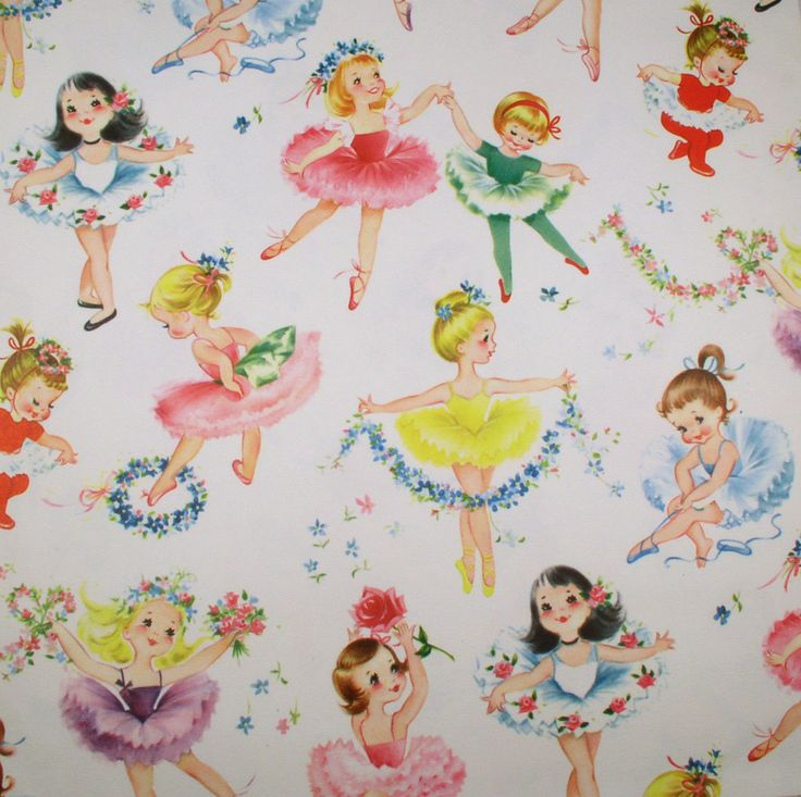 Ballerina Girls - Vintage Wrapping Paper - Would be so pretty framed in a little girls' room.